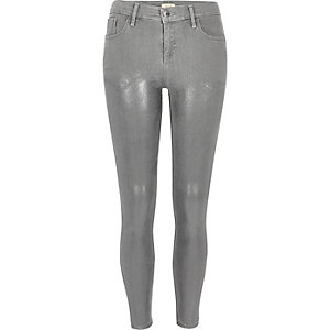 Metallic grey Amelie super skinny jeans