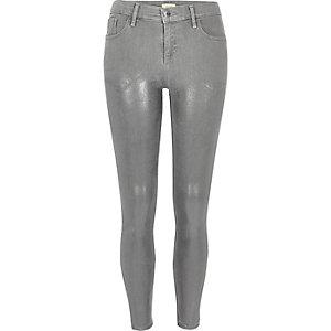 Jean super skinny Amelie gris métallisé
