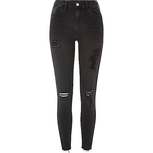 Amelie – Schwarze Skinny-Jeans im Used-Look