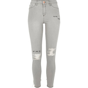 Grey ripped slogan print Molly jeggings
