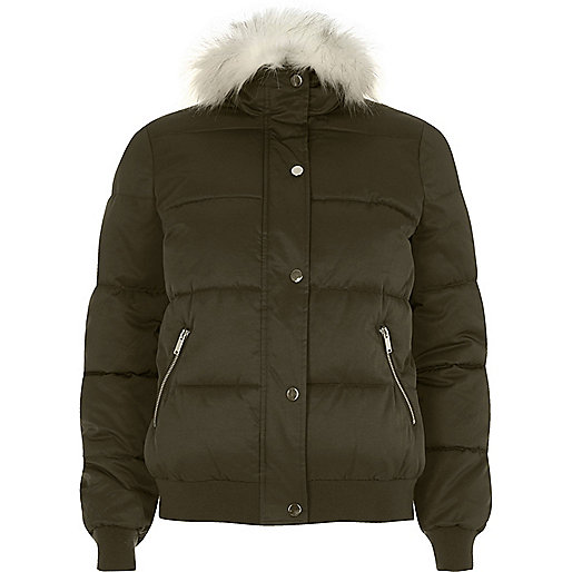 Khaki green faux fur trim padded jacket