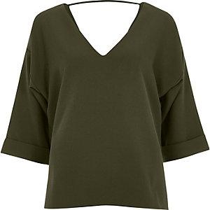 Khaki green strap back blouse