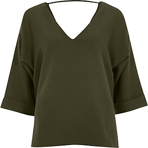 Khaki green strap back blouse