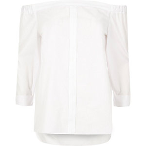 White placket bardot blouse