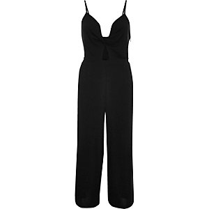 Black twist front cut-out jumpsuit