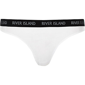 White marl sports brief thong