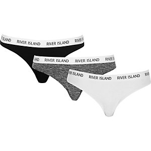 Black, white and grey sports briefs pack