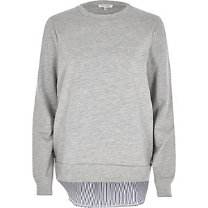 Grey stripe hem hybrid sweater