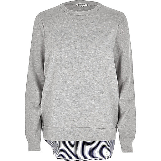 Grey stripe hem hybrid jumper