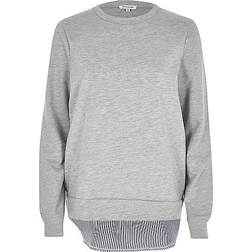 Grey stripe hem hybrid sweater