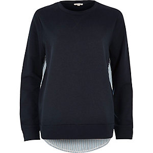 Navy stripe hem hybrid sweater