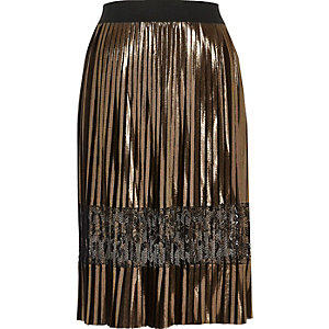 Gold metallic pleated lace midi skirt