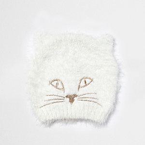 Bonnet crème duveteux motif chat