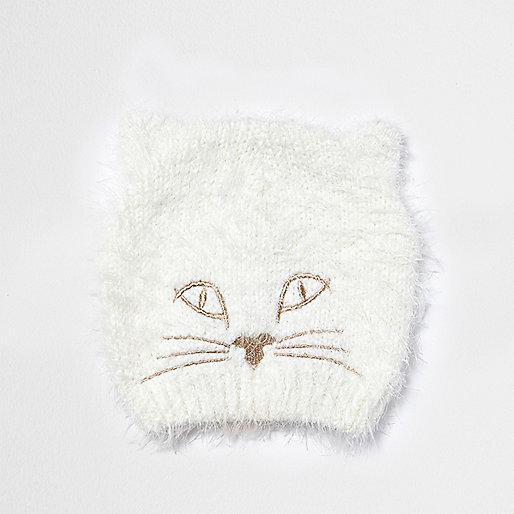 Flauschige Katzen-Beanie in Creme