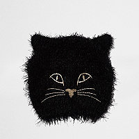 Schwarze, flauschige Katzen-Beanie