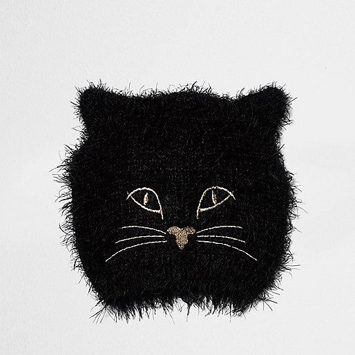 Black furry kitty beanie