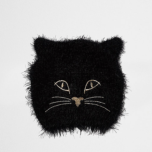 Bonnet noir duveteux motif chat