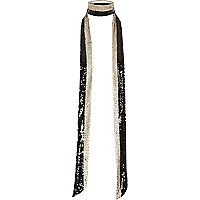 Black sporty sequin stripe skinny scarf