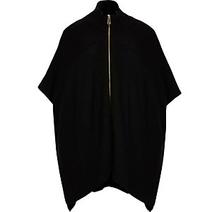 Black ribbed zip poncho