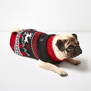 RI Dog red Christmas knit sweater