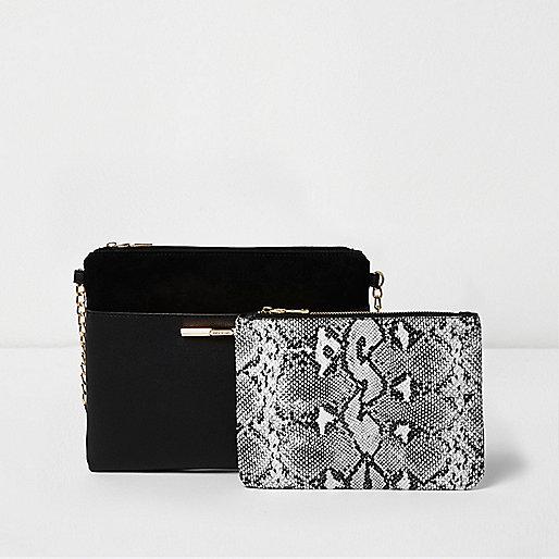 Black bag and snake print pouchette
