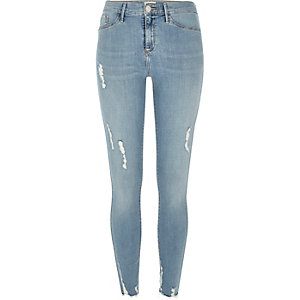 Molly – Hellblaue, gerippte Jeggings