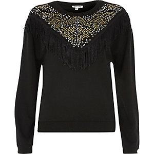 Black western fringe sweatshirt
