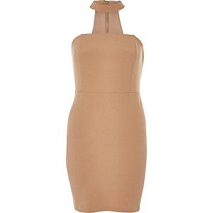 Nude choker bandeau mini dress
