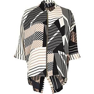 Brown print zip front shirt