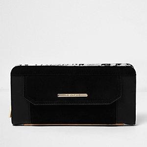 Black panel snake print purse