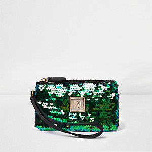 Green sequin mini pouch purse