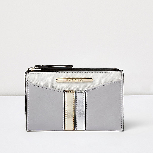 Grey metallic panel mini pouch purse