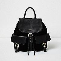 Black leather pocket backpack