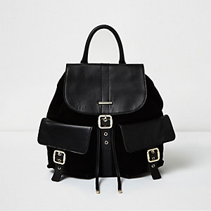 Black leather pocket backpack