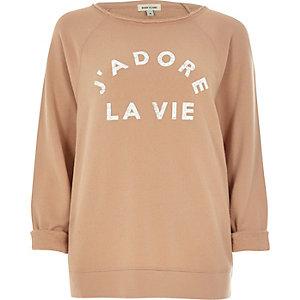 Brown J'Adore La Vie print dolman sweatshirt