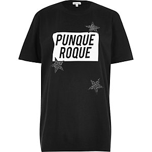 Black 'roque' print boyfriend T-shirt