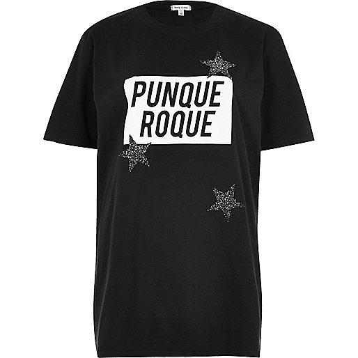 T-shirt boyfriend imprimé Roque noir