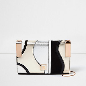 Pink metallic hinge clutch bag