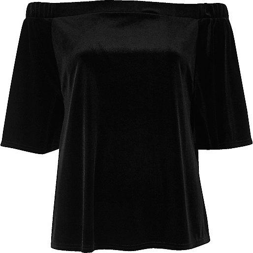 Top style Bardot en velours noir
