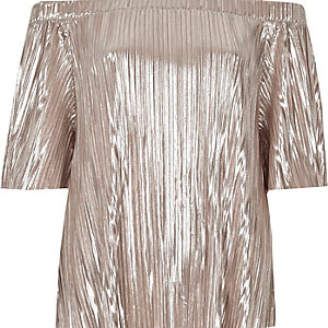 Metallic pink pleated bardot top
