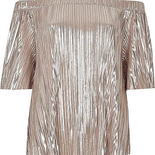 Metallic pink pleated bardot top