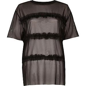 T-shirt noir à volants superposés