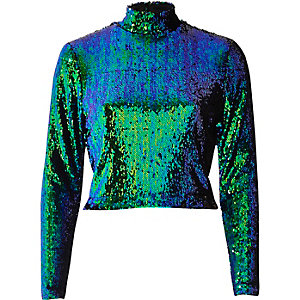 Bright turquoise sequin turtleneck crop top