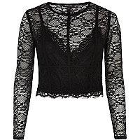 Black long sleeve lace crop top