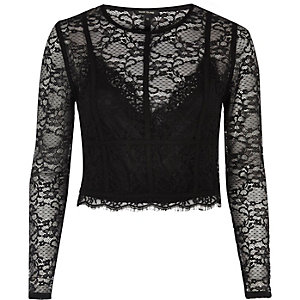Black long sleeve lace crop top