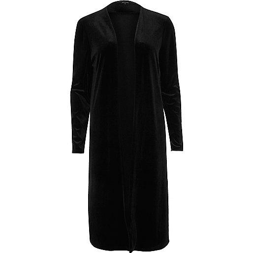 Black velvet duster jacket