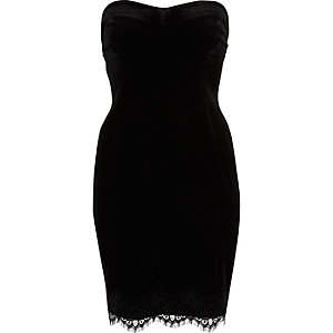 Black velvet lace trim bandeau dress