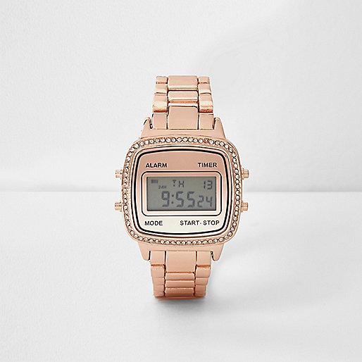 Rose gold tone diamanté digital watch