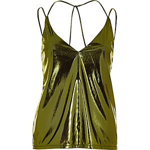 Metallic green strappy cami