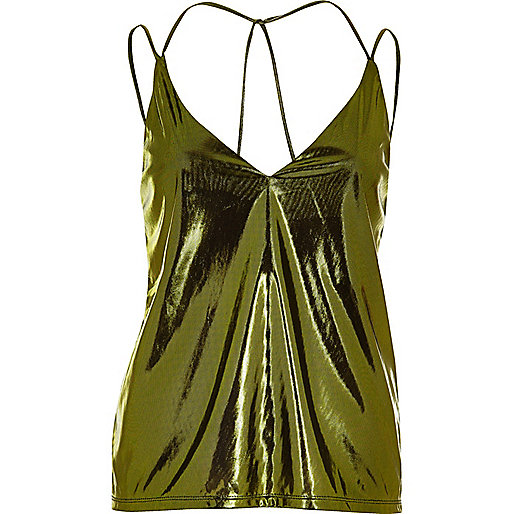 Metallic green cami top